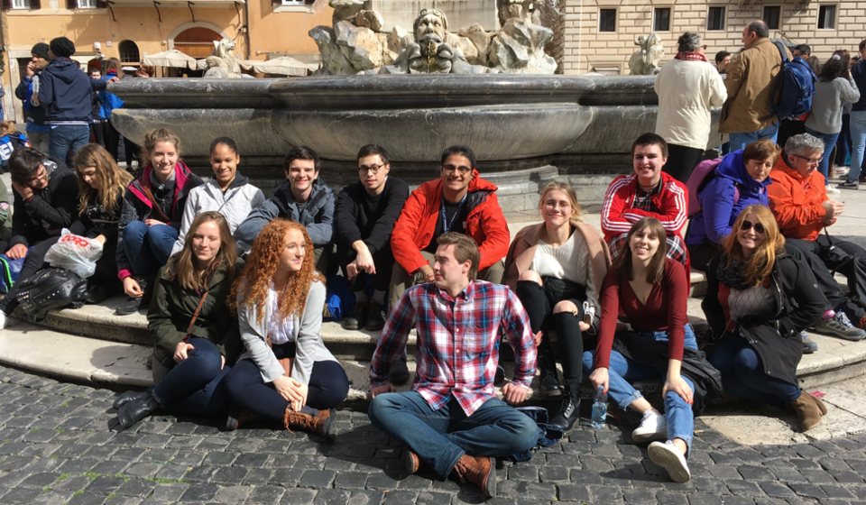 Students taking a break in front of the Fontana del Pantheon in the Piazza della Rotonda in Rome.