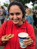 UHP student Eliza Scholl enjoys cookies and milk at the Minnesota State Fair